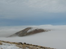 Looking west from Haystack Butte in the fog 1