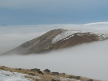 Looking west from Haystack Butte in the fog 2